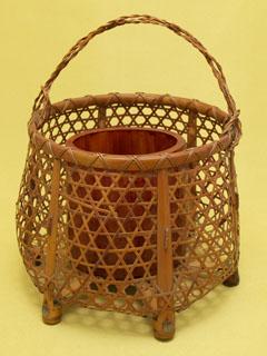 煤竹籠目編 置花籠