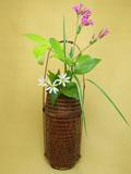 煤竹 手付置籠花入 花
